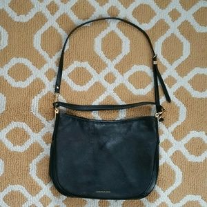 Lauren Ralph Lauren Black Leather Baguette Handbag